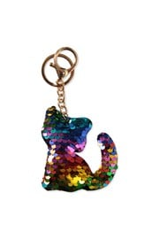 Sequin Cat Keyring