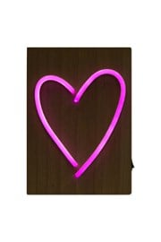 Neon Heart Wooden Light